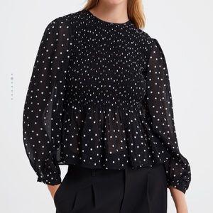 Zara polka dot printed blouse